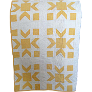 SOLD Vintage Hand-Made Yellow and White Pieced Quilt