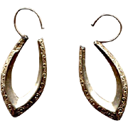 10K Gold Engraved Pointed-Hoop Pierced Earrings