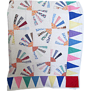 "Vintage ""Fan Patchwork"" Pieced Quilt with Triangle Border"