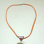 "Poker Chip Necklace, ""Harrah's New Orleans,"" Sterling Silver, Suede"