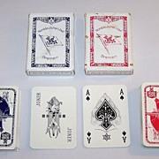 """2 Decks VASS """"Norddeutscher Lloyd Bremen"""" Playing Cards, Bechstein Logo Ace of Spades, c.1"""