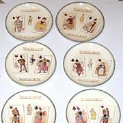 "7 Hippolyte Boulenger ""Choisy le Roi"" Faience (Majolica) Plates, ""Carte À Jouer"" Seri"
