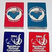 "SOLD 2 Twin Deck Sets Republican Party Playing Cards, $15/ea: (i) Arrco ""Everyone for Elepha"