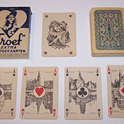"""Speelkaarten Fabriek Nederland """"Troeuf – Whist No.11"""" Playing Cards, Scenic Aces, c.1940"""