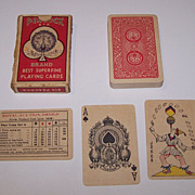 """India """"815 Peacock"""" Playing Cards, """"Goodall"""" Ace, Maker Unknown, Exceptional Joker, c"""