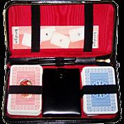 Double Deck Fritz Fischer Nuernberger Spielkartenfabrik Playing Cards, w/ Leather Case,  Dice,