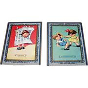 """2 Large """"Poker Game"""" Cards, Titled """"Good News"""" and """"Say It With Flowers,"""" Signed L"""
