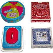 """4 Novelty Decks of Playing Cards, $10/ea.: (i) Two's Company Round """"Beach Ball""""; (ii) A."""