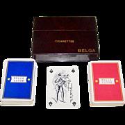 """Double Deck Van Genechten """"Belga"""" Playing Cards, Belga Cigarettes, c.1940s"""