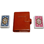 "SOLD Double Deck Piatnik ""Patience"" Playing Cards, Leather (or Faux Leather) Case, c.1970"