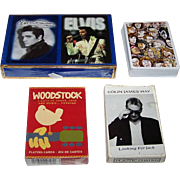"3 Sets Rock Music Playing Cards, $10/ea.: (i) Double ""Elvis Presley"" w/ Photos; (ii) ""Wo"
