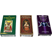"3 Sets of Tarot Cards, $15/ea.: (i) Llewellyn Publications ""Robin Wood Tarot""; (ii) U.S. G"