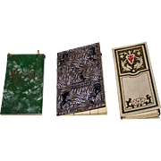 3 Card Game Score Pads, $15/ea.: (i) Art Deco Auction Bridge Score Pad, Plastic Covers, c.1930