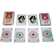 """Carta Mundi """"Keser"""" Playing Cards, Anton Schupp Designs, New Suit (Clovers), Red and Green"""