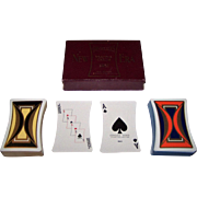 "Double Deck Standard Playing Card Co. ""New Era"" Playing Cards, Concave Sides, Art Deco Bac"