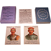"""SALE PENDING Mazawattee Tea Co. """"Our Kings and Queens"""" Card Game, c.1901"""
