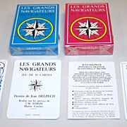 "Twin Decks Grimaud ""Les Grands Navigateurs"" Playing Cards, Jean Delpech Designs, c.1976, ."