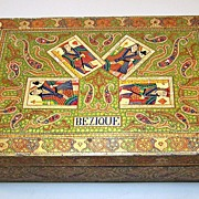 Bezique Set, Anglo-Indian Kashmiri (Srinagar) Painted Wood Box w/ De La Rue Playing Cards ...