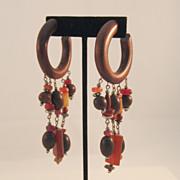 Wooden Hoop Pierced Earrings with Tribal Dangles