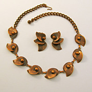 Elegantly Designed Copper Leaf Necklace and Earring Set
