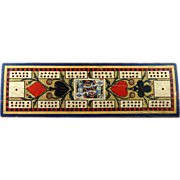 SOLD Vintage English Cribbage Board with Designed Paper Top