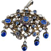 Austro-Hungarian Pendant/Pin With Paste Sapphires