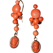 Antique Coral Earrings With Coral Cameo Dangle
