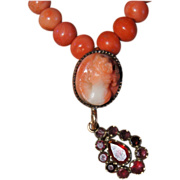 Georgian Garnet Pendant Coral Cameo Necklace
