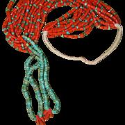 Pueblo Natural Red Coral Necklace With Jaclas
