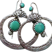 Navajo Hoop Earrings With Turquoise Suspended Drops