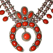 1930's Silver And Coral  Squash Blossom Necklace