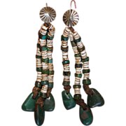 Navajo/Pueblo Turquoise And Heishi Earrings