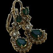 SALE Vintage Emerald and Diamond Earrings