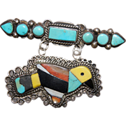 Early Fred Harvey Inlaid Bird /Turquoise Bar Pin