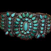 Vintage Zuni Natural Turquoise Cluster Bracelet 1920's