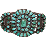 Zuni Turquoise Cluster Bracelet With Heavy Wire 1930's