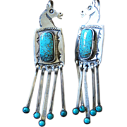 Navajo Horse Head Earrings With Spiderweb #8 Turquoise