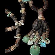 Hohokam Necklace 800 AD Turquoise, Shell, Jet and Stone