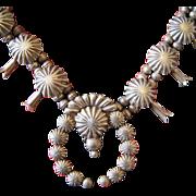 1930's Silver Domed Button Squash Blossom Necklace