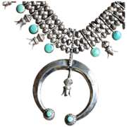 Early Pueblo Turquoise Squash Blossom Double Sided Necklace