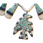 Santa Domingo Pueblo Depression Era Thunderbird Inlay Necklace