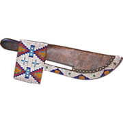 Lakota Sioux Beaded Knife Sheath With Trade Knife