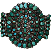 Green Turquoise Four Row Cluster Bracelet