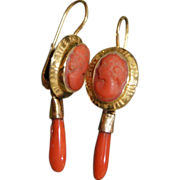 Victorian coral cameo drop earrings