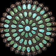 Vintage Zuni Cerrillos Turquoise Cluster Pin