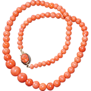 Victorian Coral Necklace With Coral Cameo Clasp