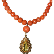 Victorian Coral Necklace With Cannetille Citrine Pendant