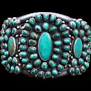 Heavy Battle Mountain Turquoise Navajo Cluster Bracelet 1930's