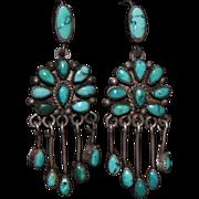 Vintage Zuni Chandelier Turquoise Earrings