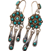 Vintage Zuni Turquoise Cluster Earrings With Pulled Wire Drops
